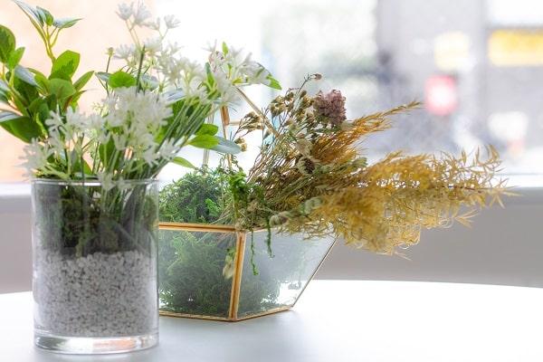 透明の花瓶に入ったドライフラワー